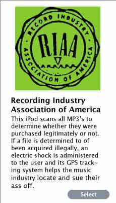 RIAA iPod